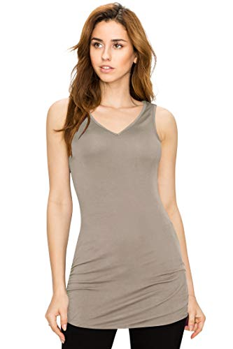 - Made By Johnny WT1101 Womens Basic Extra Long Tunic Tank Top with Side Shirring L Taupe