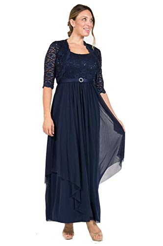 R&M Richards Long Mother of The Bride Formal Dress Navy (R & M Richards Dresses Mother Of Bride)