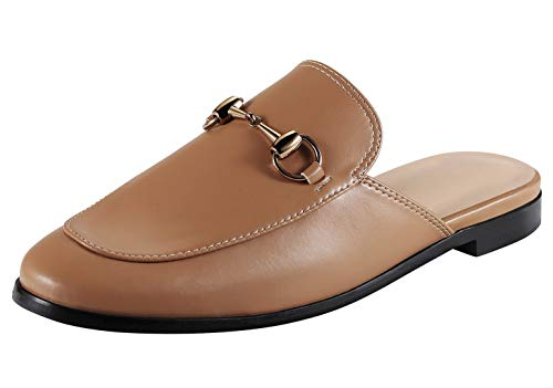 Syneyena Classic Loafers Casual Women's Slippers with Flats Heels Leather Slingback Mules Shoes Brown Brown Leather Slingback Heels