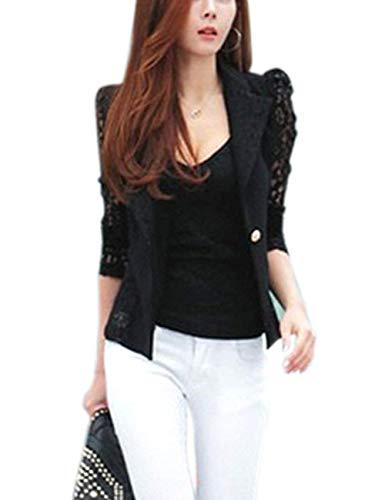 Chic Monocromo Casual Donna Blazer Giuntura Giaccone Outerwear Fit Ragazza Pizzo Tailleur Autunno Bianca Bavero Slim Lunga Button Sottile Manica AZZzx4vw