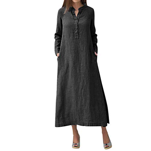 2019 Summer Deals ! Women Kaftan Cotton Long Sleeve Plain Casaul Oversize Maxi Shirt Dress Plus Black