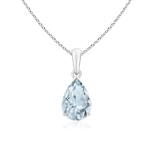 Angara Pear Shaped Aquamarine Solitaire Pendant Necklace in Platinum fY5yN
