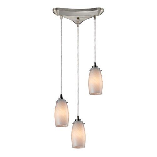 Alumbrada Collection Favelita 3 Light Pendant in Satin Nickel and Cocoa Glass