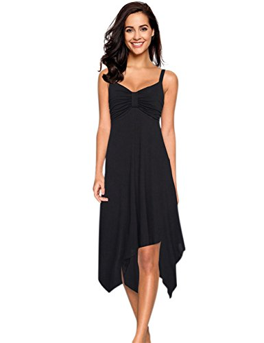 Leadingstar Women Strap Irregular Hem Summer Casual Beach Dress LBD (Black, M)
