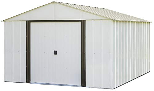 - Arrow Arlington High Gable Steel Storage Shed, Eggshell/Coffee Trim, 10 x 12 ft.