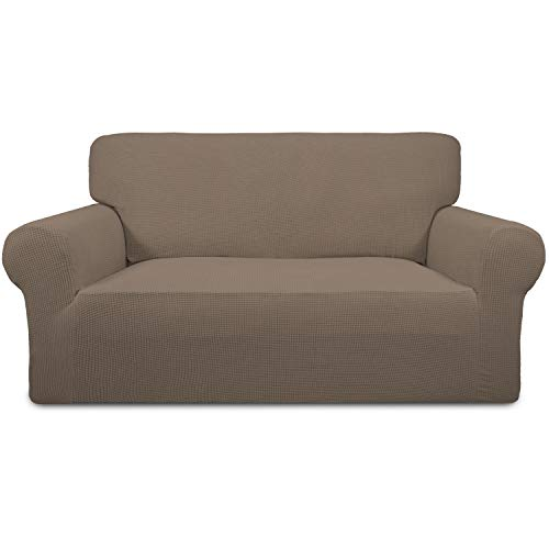 Easy-Going Stretch Sofa Slipcover 1-Piece Sofa Cover Furniture Protector Couch Soft with Elastic Bottom Anti-Slip Foam Kids,Polyester Spandex Jacquard Fabric Small Checks(Loveseat,Camel)