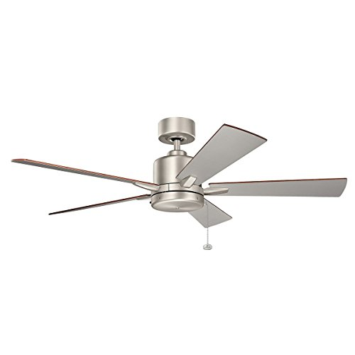 Indoor Ceiling Fans Light with Brushed Nickel Tone Finish Steel Material 52 inch