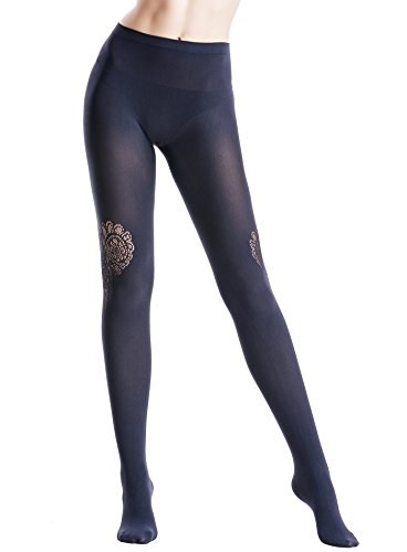 Zeraca Women's 120D Sheer To Waist Pattern Footed Opaque Tights 1 Pack (S/M, Dark Blue (120 Denier Tights)