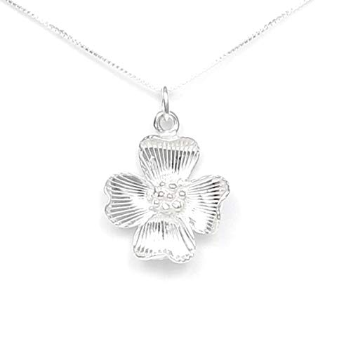 (Dogwood Flower Necklace - Gift Boxed with Expect Miracles Story Card included - Sterling Silver Made in USA - 20