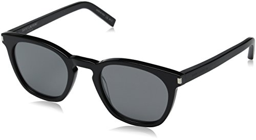 Saint Laurent Unisex SL 28 Black/Solid Silver Sunglasses