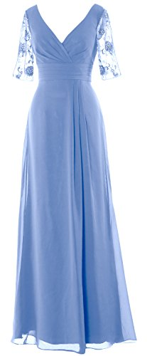 Half Himmelblau MACloth Mother Neck V Formal the of Long Dress Women Gown Sleeves Bride Hwwqa5f