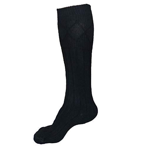Kilt Hose - Men's Kilt Socks Scottish Highland Kilt Hose Socks - Natural Kilt Socks (L (10'' To 12''), Black)