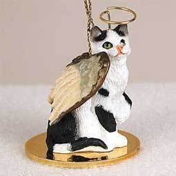 BLACK and WHITE CAT Tabby MINIATURE Angel Christmas Ornament NEW CTA02 (Black Angel Dog Ornament)