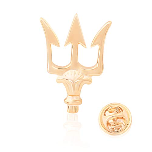 OBONNIE Vintage Alloy Trident Brooch Pin Lapel Collar Pin Shirt Suit Stick Pins for Men Gift (Gold Pin)]()