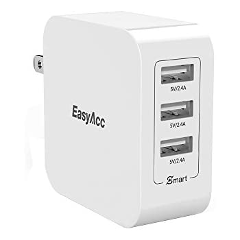 EasyAcc 36W 7.2A Wall Charger 3-Port USB Travel Charger with Foldable Plug, Smart Charge Technology for iPhone 6s, 6 Plus, iPad Pro / Air / Mini, Galaxy S7 S6 Edge and More