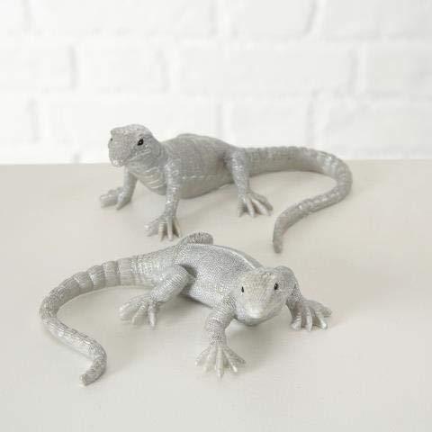 sehr Edel Grün Dekofigur Leguan Eidechse Reptil Gartenfigur Dekoration Silber