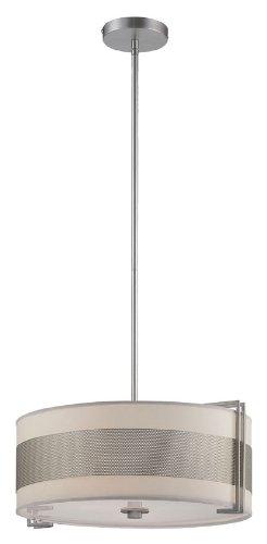 Lite Source LS-19474SS/WHT Ceiling Lamp, Satin Steel with White Paper (Lite Source Satin Ceiling Lamp)
