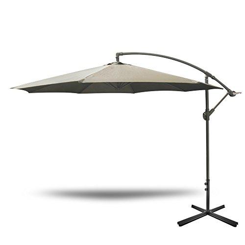 Yongtong Offset 10 Ft Patio Umbrella, Adjustable Cantilever Hanging Outdoor Umbrellas, with Cross Buttom Base and Crank, Market Sun Shade UV Resistant Umbrellas for Cafe, Beach (Tan) Review