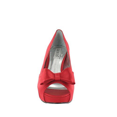 Con De Talón Ladies Plataforma 'lazo' Zapatos Adornos Alta Lexus Red wvqIY