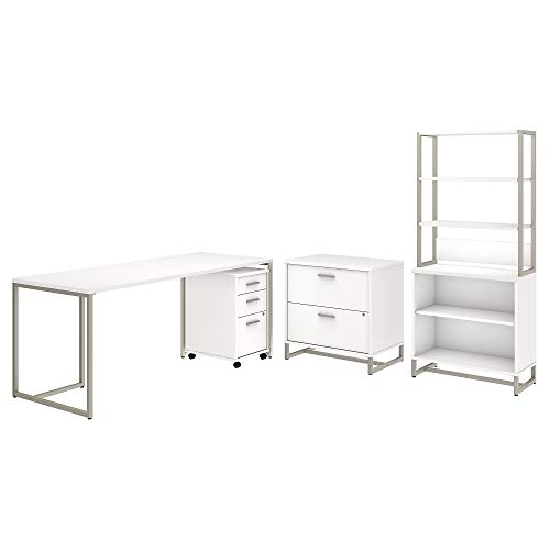 Office by kathy ireland Method 72W Table Desk with File Cabinets and Bookcase in White
