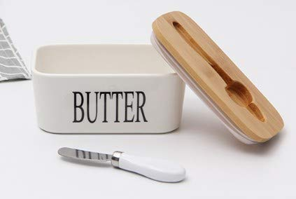 Ceramic Butter Dish With Bamboo Lid And Stainless Steel Butter Knife Easy To Clean And Good For Kitchen Space Saving Amazon Ca Industrial Scientific