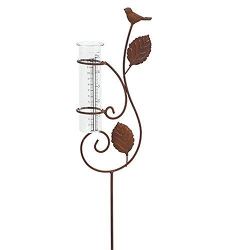 Regenmesser Metall Glas Gartenstecker Gartendeko Garten-Stab mit Vogel und Blätter in Rost-Optik. Von Haus der Herzen® unbekannt