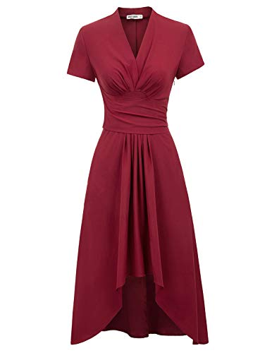 Asymmetrical Ruched Bodice Dress - GRACE KARIN Womens High Low Asymmetrical Short Sleeve Maxi Dress with Pocket(Small,Wine Red)