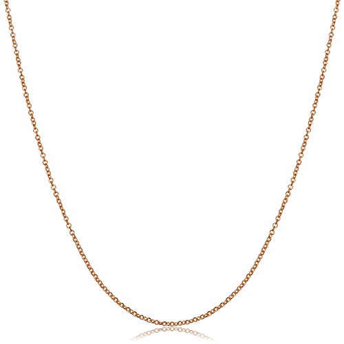 14k Rose Gold Round Cable Chain Necklace (1mm, 18 Inch)