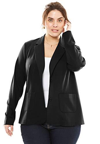 Jessica London Women's Plus Size Ponte Knit Blazer with Notch Collar - Black, 18