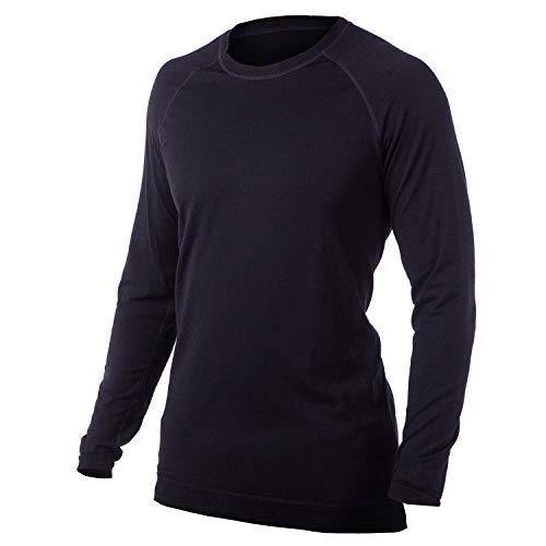 Men's Merino Wool Lightweight Base Layer Crew - Long Sleeve - Made in Italy, Ski, Winter, Warmth (Black, Large)