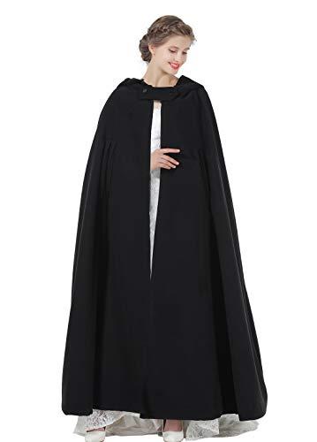 Plus Size Cape (Hooded Cloak Wedding Cape for Women Bridal Winter Robe Wool Blend Full length Halloween Costume Christmas)