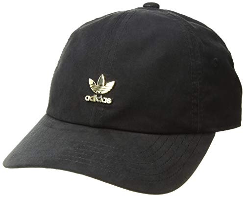 adidas Women's Originals Metal Logo Relaxed Adjustable Strapback Cap, Black/Gold, One Size