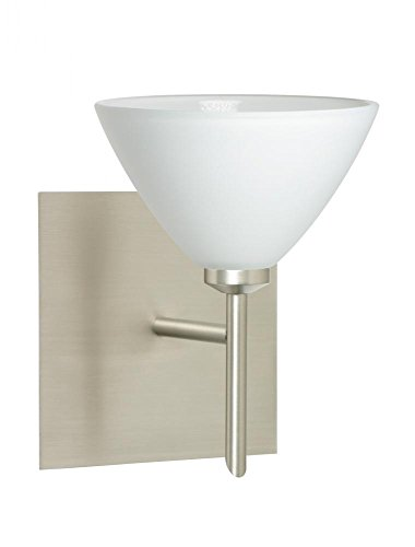 Besa Lighting 1SW-174307-SN-SQ 1X40W G9 Domi Wall Square Canopy with White Glass, Satin Nickel Finish