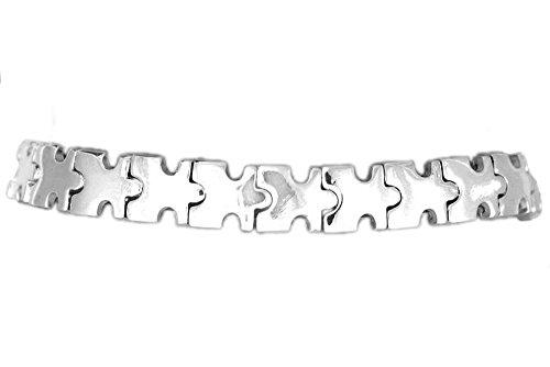 Autism Awareness Stretch Silver Puzzle Piece Bracelet- U.S Best offer! by NA