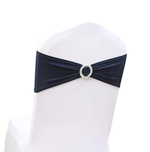 Sash Color Any (100PCS Stretch Wedding Chair Bands with Buckle Slider Sashes Bow Decorations 10 Colors (Navy Blue))