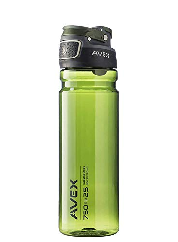 Avex FreeFlow Autoseal Water Bottle, Olive, 750ml/25 oz