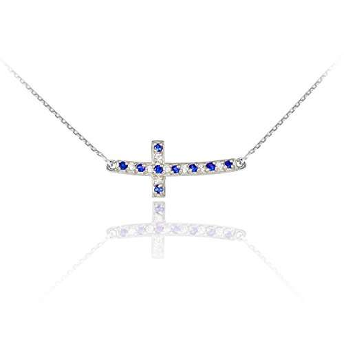 14k White Gold Diamond and Sapphire Sideways Curved Cross Necklace (18 Inches)