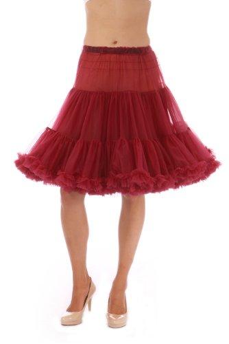 Malco Modes Luxury Vintage Knee-Length Crinoline Petticoat Skirt Pettiskirt, Adult Tutu for Rockabilly 50s Square Dance or Lolita Dress; Plus Size Petticoat Available Wine