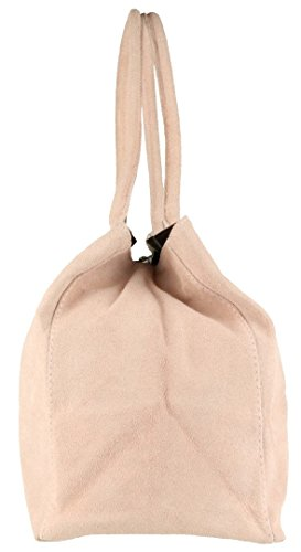Suede HandBags Girly Shoulder Bag Italian Expandable Nude Leather wt7qx7Cd