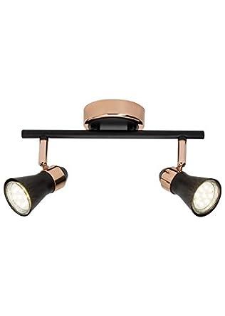 BRILLIANT JUPP LED Deckenleuchte 14 cm Kupfer/Schwarz matt 2-Flammig ...
