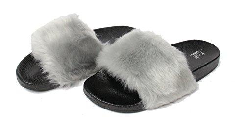 Kali Chaussures Femmes Flip Flop Fausse Fourrure Doux Glissement Plat Pantoufle Limite Gris