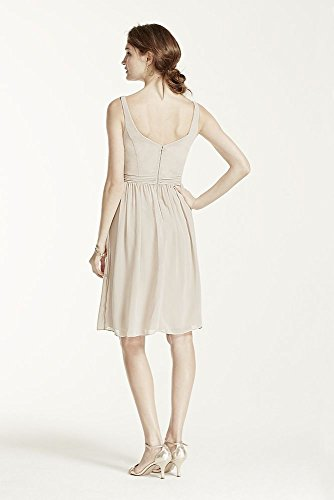Short Chiffon V-Neck Bridesmaid Dress with
