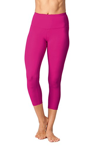 Yogalicious High Waist Ultra Soft Lightweight Capris -  High Rise Yoga Pants - Magenta Haze - Small Low Rise Capri Leggings Pants