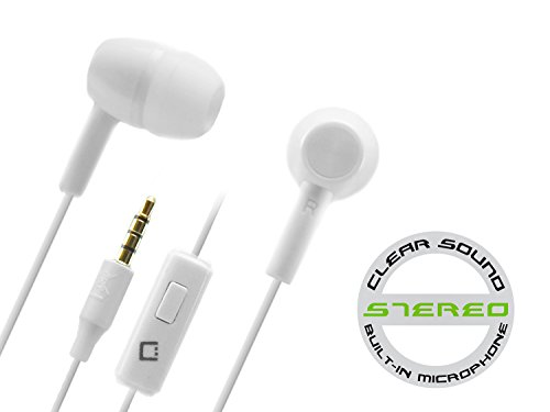White Free Headset Hands (Cellet 3.5mm Premiere Sound Hands-Free Stereo In-Ear Headphones - White)