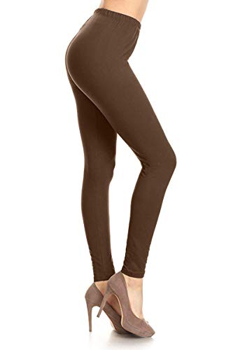 LDR128-Mocha Basic Solid Leggings, One Size -