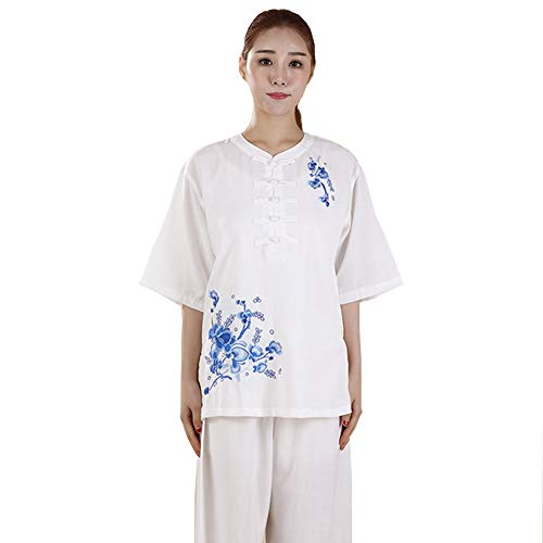 ZHL&M Women Tai Chi Uniform - Manual Embroidery Shaolin Martial Arts Clothing Cotton Short Sleeve Kung Fu Taekwondo Training Clothing for Women's Tai Chi Exercise Arthritis Motion,White,M