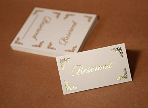 Table Tent, Place Card, Reserved Signs Wedding, 25-Pack, Gold Foil Hot Stamp, Double Sides, Place Cards Double Sides (Reserved Cards 6)