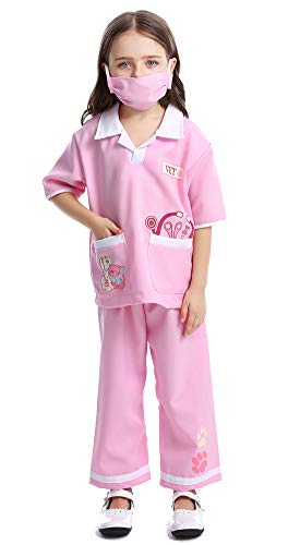 Haorugut Doctor Costume for Kids Role Play Costume Toddler Doctor Dress up Surgeon Costumes for Boys and Girls Pink M