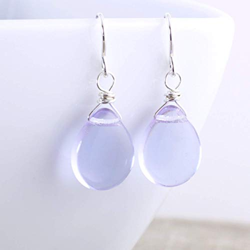 (Lavender Blue Glass Bead Dangle Earrings in Sterling)