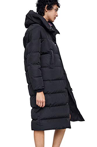 Coat Length Nylon Knee (23TOO Outerwear Women's Knee Length Quilted Puffer Coat Black (HDK039-B-S))